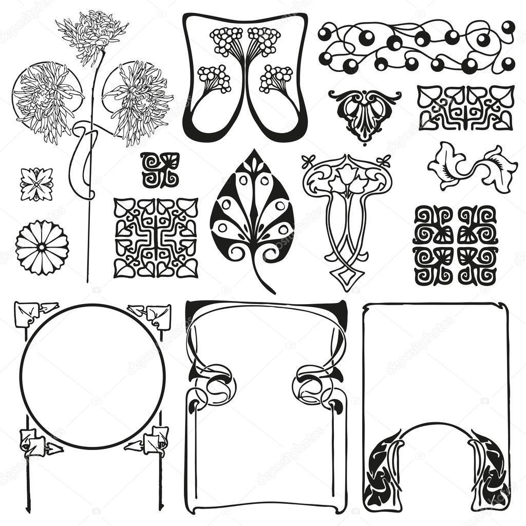 Jugendstil Florale Ornamente Stockvektor Alvaroc 81652894