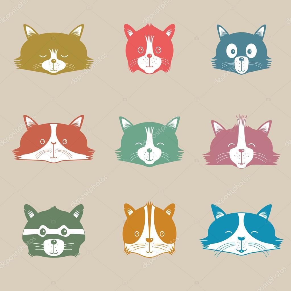 Vector Set Of Different Adorable Cartoon Cats Faces Stock Vector
