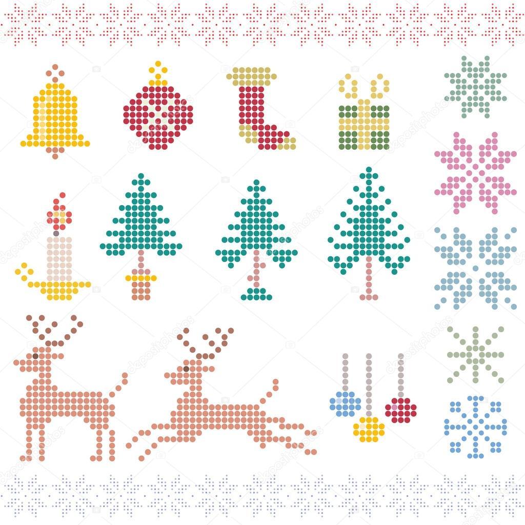 píxeles de patrón de invierno de Navidad — Archivo Imágenes ...