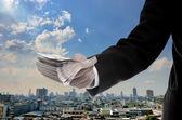 Koncept ekonomické kapitálový vklad, podnikatel investovat do hlavu