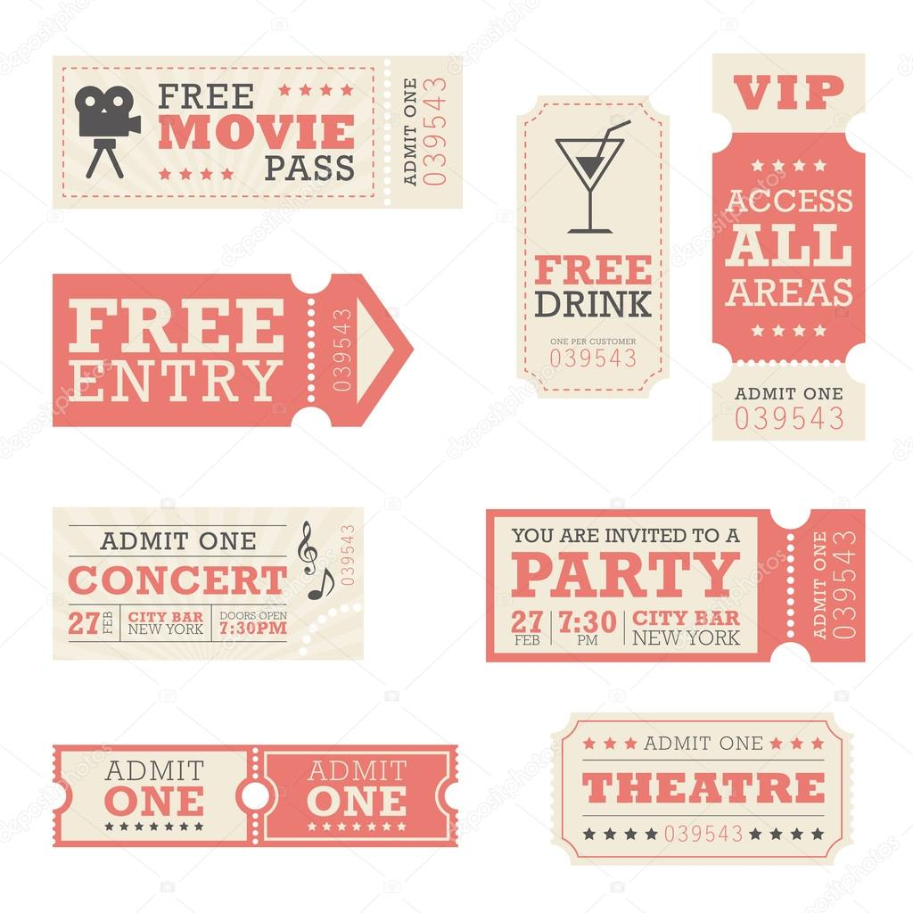 A set of tickets for entertainment events stock vector