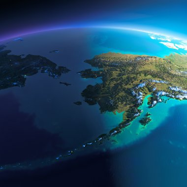 Detailed Earth. Chukotka, Alaska and the Bering Strait