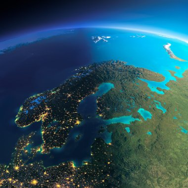 Highly detailed planet Earth. Night with glowing city lights gives way to day. The boundary of the night & day. Europe. Scandinavia. Elements of this image furnished by NASA stock vector