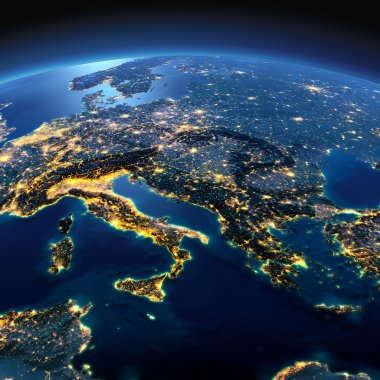 Detailed Earth. Italy, Greece and the Mediterranean Sea on a moo