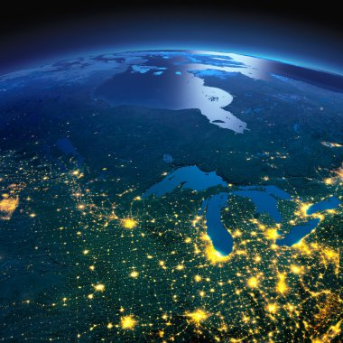 Detailed Earth. The northern U.S. states and Canada on a moonlit