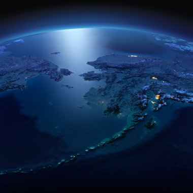Detailed Earth. Chukotka, Alaska and the Bering Strait on a moon