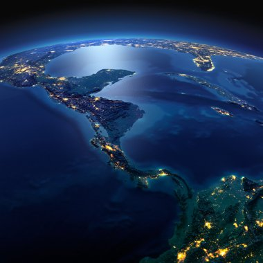 Detailed Earth. The countries of Central America on a moonlit ni