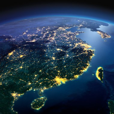 Detailed Earth. Eastern China and Taiwan on a moonlit night