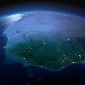 Fotografie Detailed Earth. West African countries on a moonlit night