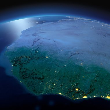Detailed Earth. West African countries on a moonlit night