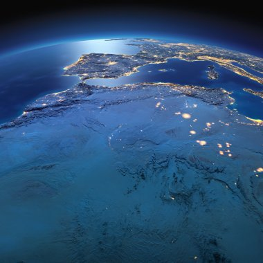 Detailed Earth. North Africa. Algeria, Morocco and Tunisia on a