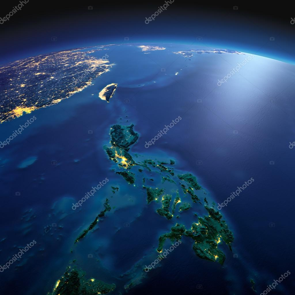 Detailed Earth. Southeast Asia. Philippines on a moonlit night