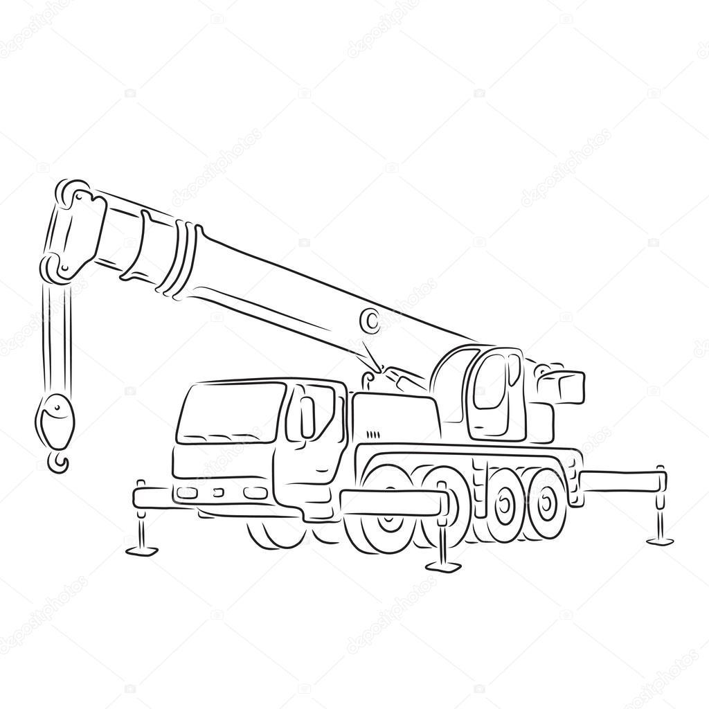 Esquema de grúa sobre camión, vector — Vector de stock © Bellastera ...