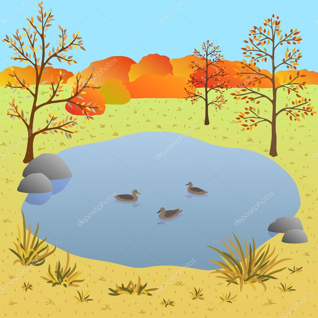 Flate autumn landscape, lake with ducks, vector illustration