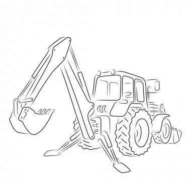 Outline of backhoe loader, vector illustration