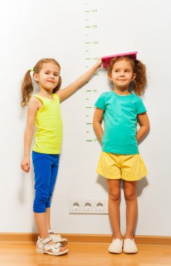 Two girls near scale on wall