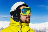 Fotografie Zavřít Portrét muže, lyžař