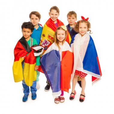kids wrapped in European  flags