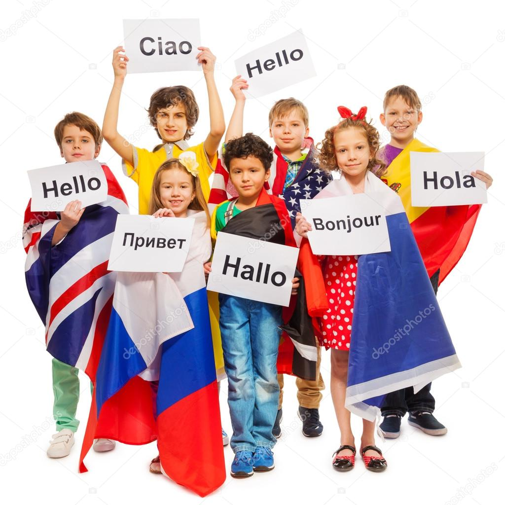 Kids greeting in different languages stock photo serrnovik kids greeting in different languages stock photo m4hsunfo