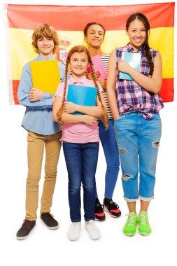 kids with Spanish flag