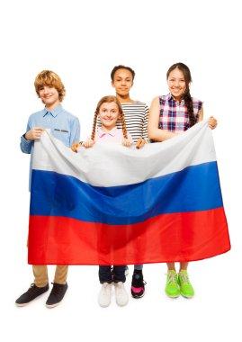 teenage kids with Russian flag