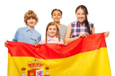 teenage kids with flag of Spain