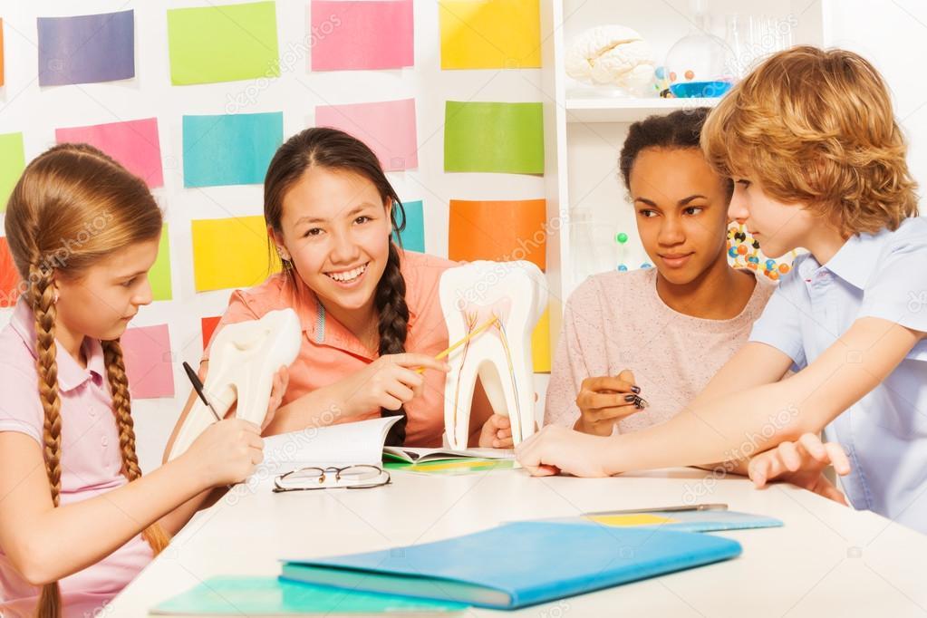 teenagers studying the anatomy — Stock Photo © serrnovik #117689128