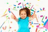 Fotografie  preschool girl learning mathematics