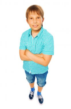 Kid boy in blue shirt