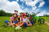 Fotografie Happy kids in helmets
