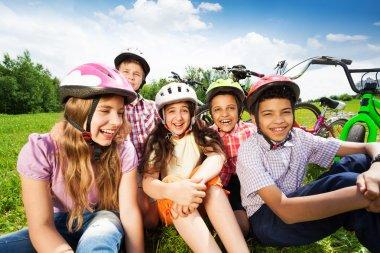 Happy kids in helmets