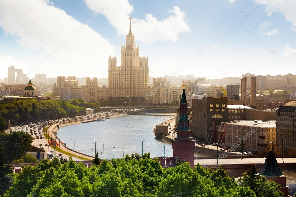 Beautiful view on Kotelnicheskaya embankment