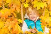 Fotografie blonden Jungen im Herbst gelbes Laub