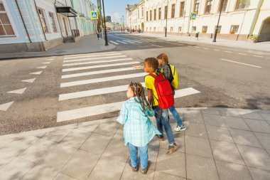 Kids ready to cross road