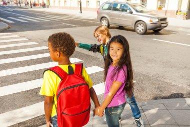 Kids ready to cross road