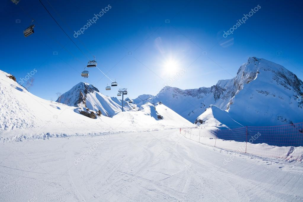 Ski piste and chair lift ropeway