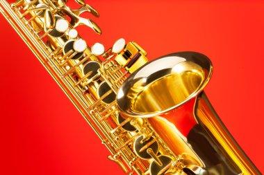 Fragment view of alto saxophone