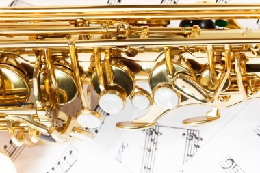 Shiny golden alto saxophone keys