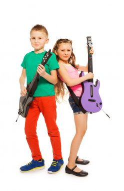 Girl and boy playing electro guitars