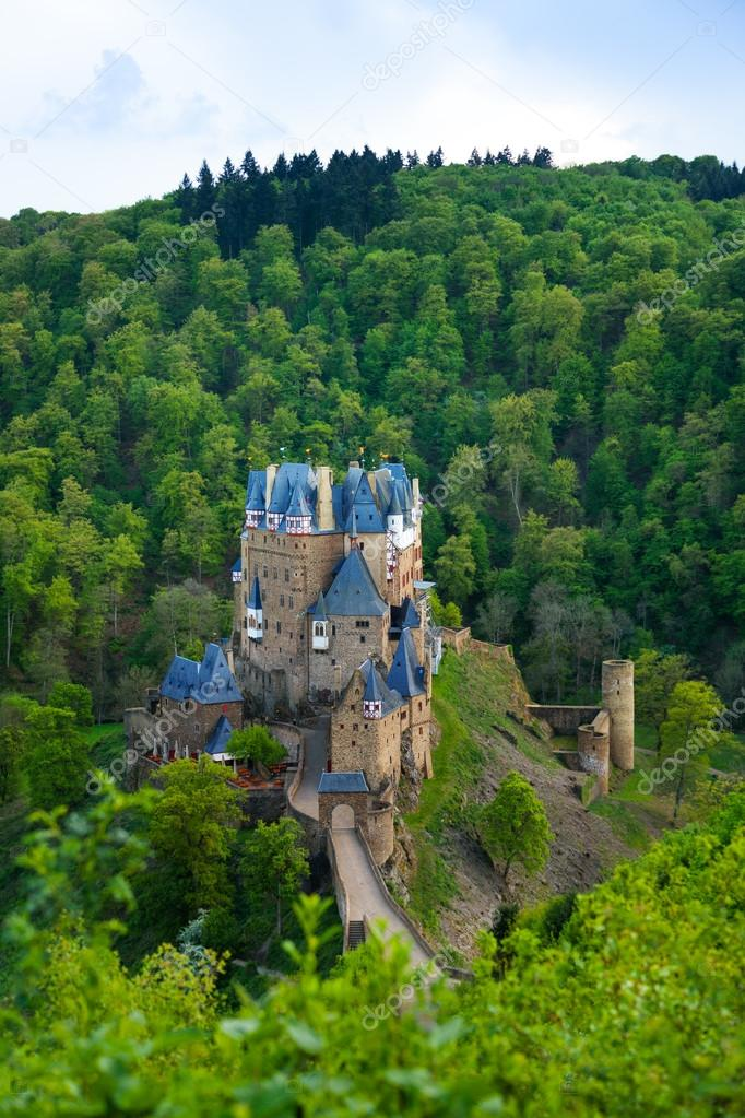 Panorama of Eltz castle in forests