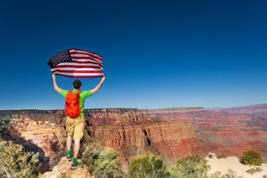 man with US flag