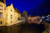 cityscape of Bruges during night