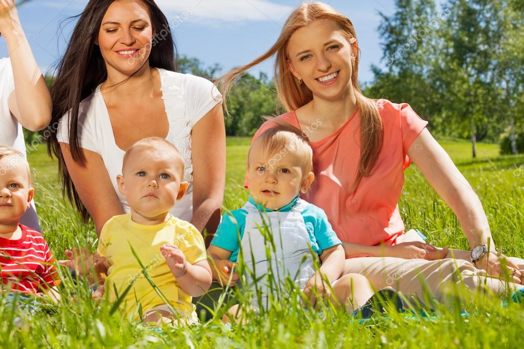 Happy Mothers With Cute Babies Stock Photo Serrnovik 86136160