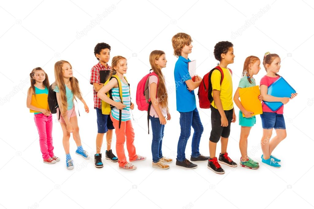 Many happy kids in a line to school — Stock Photo ...