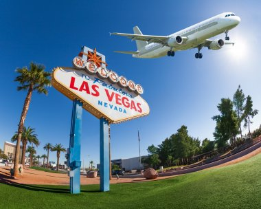 Welcome sign to Las Vegas with airplane