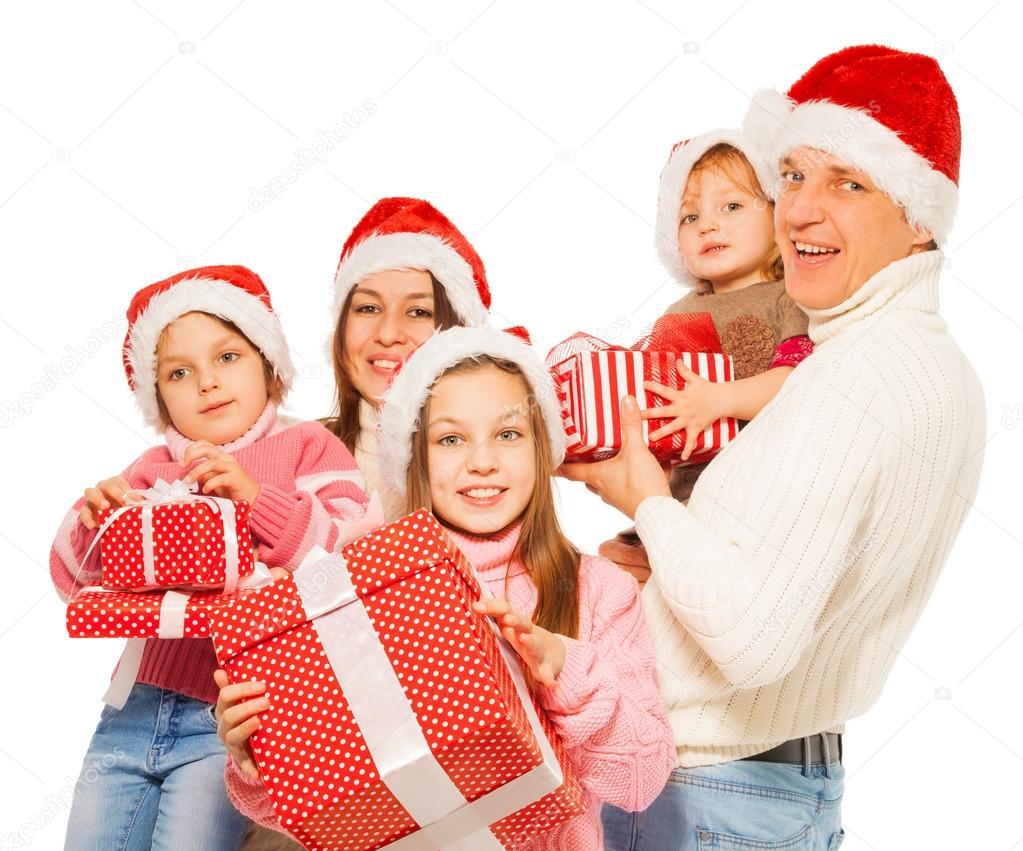 Große Familie mit Weihnachten präsentiert — Stockfoto © serrnovik ...
