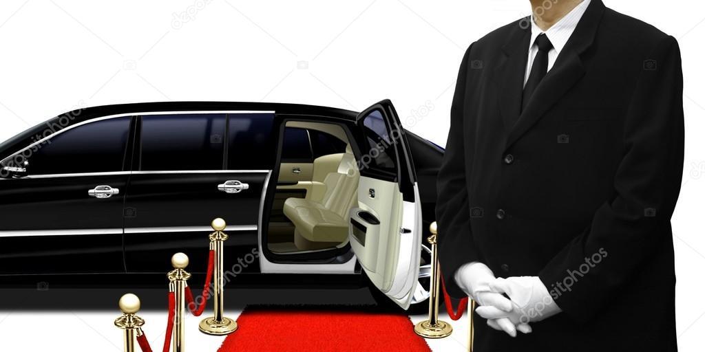 Autista di limousine in piedi con la macchina foto stock for Disegni di posto auto coperto in piedi
