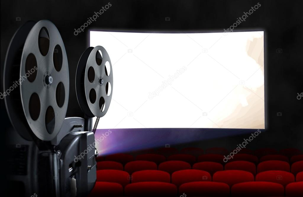 blank cinema screen with empty seats and projector stock photo razihusin 71370141. Black Bedroom Furniture Sets. Home Design Ideas