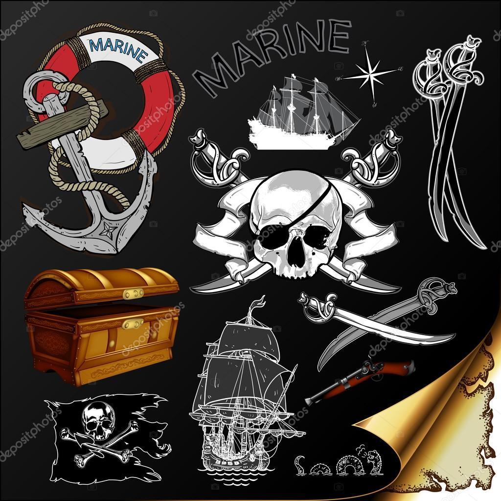 marine theme, icons set
