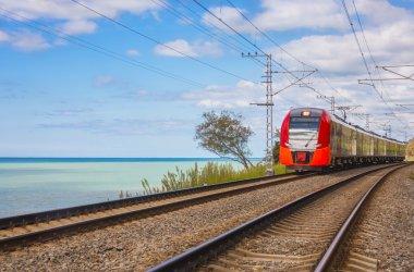 Electric train on seacoast